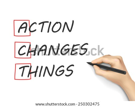 Action Changes Things written by hand on white background - stock vector