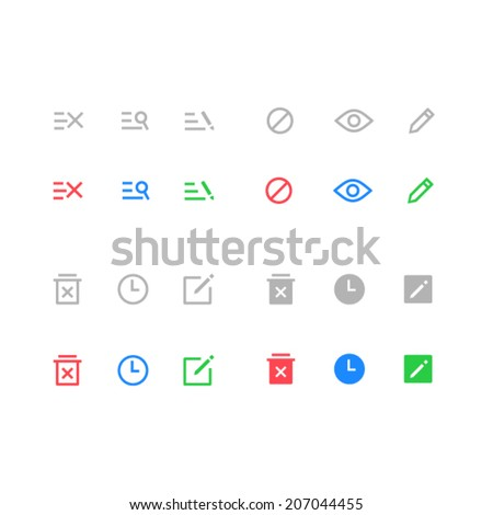 Action icons set - stock vector