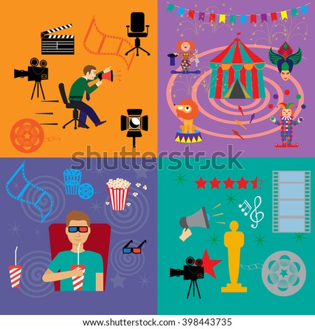 Action movie cinema production premiere flat compositions isolated vector illustration - stock vector