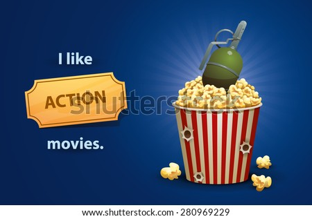 Action movies, vector - stock vector