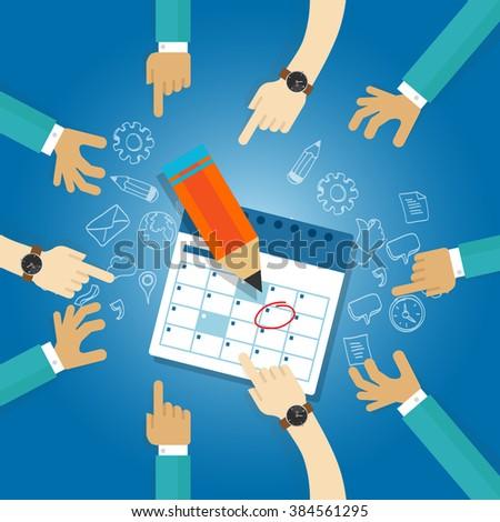action plan calendar deadline target collaboration team meetings agenda business date next milestone achieve date together  - stock vector