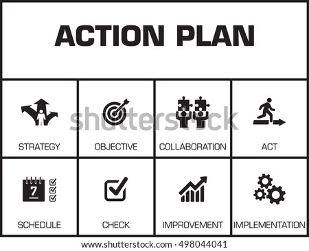 Action Plan Chart Keywords Icons Stock Vector   Shutterstock