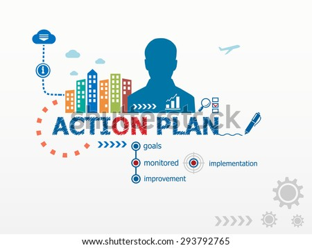 Action Plan Concept Notebook Hand Writing Stock Vector