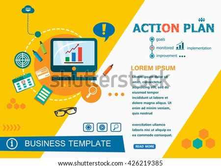 Action plan concepts of words learning and training. Action plan flat design banners for website and mobile website, easy to use and highly customizable.