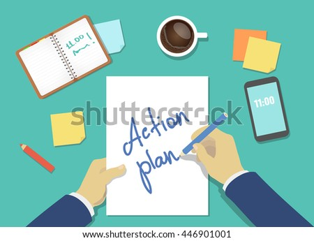 Action plan list concept. businessman hands with pen, coffee and a sheet of paper Vector - stock vector