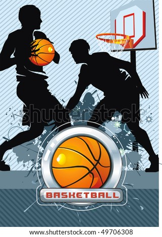 Action Players. Vector illustration sports series. Basketball Team on Abstract Background - stock vector