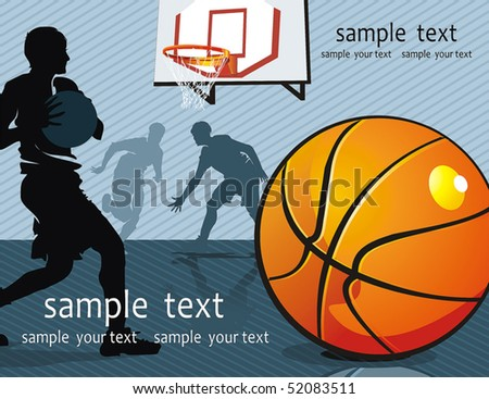 Action Players. Vector illustration sports series. Basketball Team on Abstract Background
