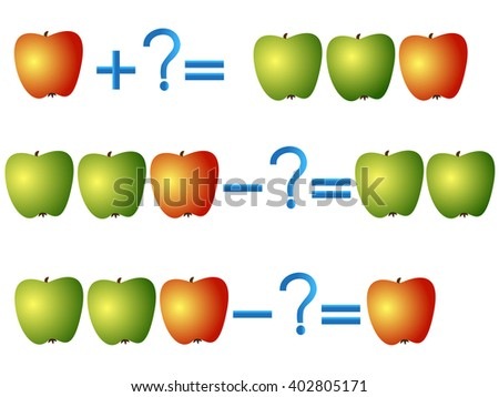 Action relationship of addition and subtraction, examples with apples. Educational games for children. - stock vector