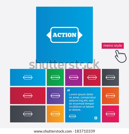 Action sign icon. Motivation button with arrow. Metro style buttons. Modern interface website buttons with hand cursor pointer. Vector