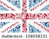 Action sports silhouettes in UK flag. Vector file layered for easy manipulation and customisation. - stock vector