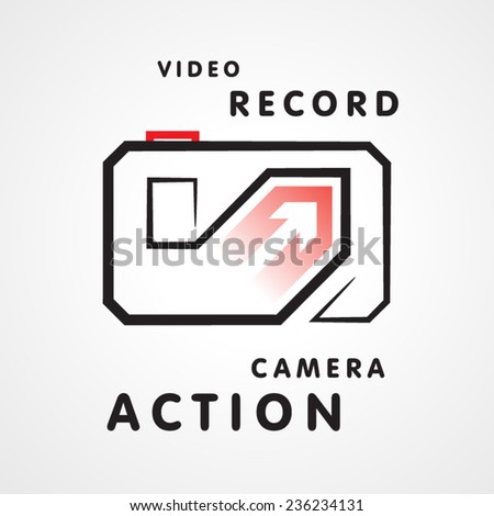 action video camera symbol emblem sign - stock vector