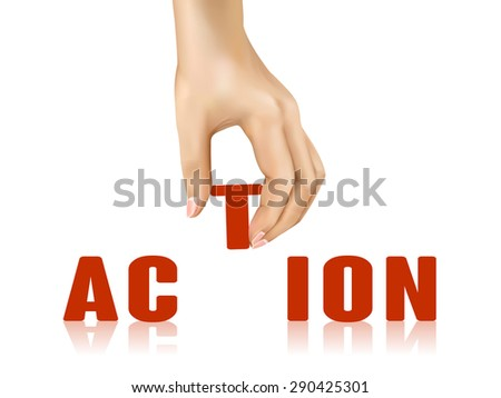 action word taken away by hand over white background - stock vector