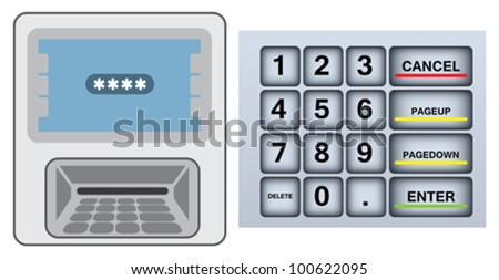 Activation of a credit card through an ATM - stock vector