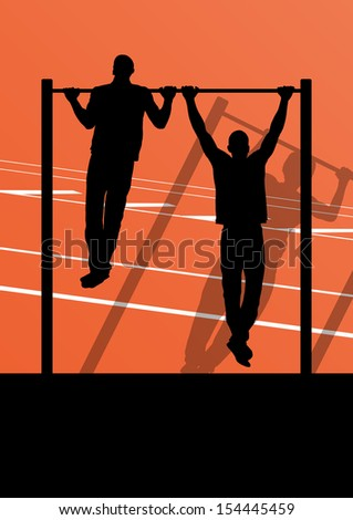 Active and strong fitness man doing push ups in sport silhouettes gym background illustration vector - stock vector