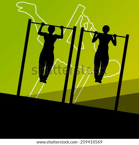 Active and strong fitness men doing push ups muscles training in sport silhouettes gym background illustration vector - stock vector