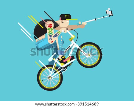 Active bicyclist character - stock vector
