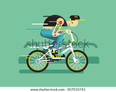 Active bicyclist. Young guy on bmx traffic, motion active. Flat vector illustration - stock vector