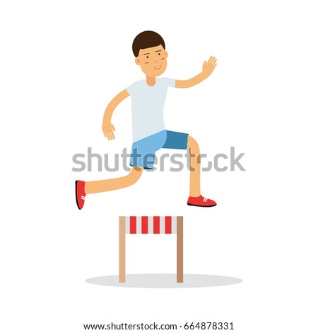 Active boy jumping hurdle cartoon character, kids physical activities vector Illustration