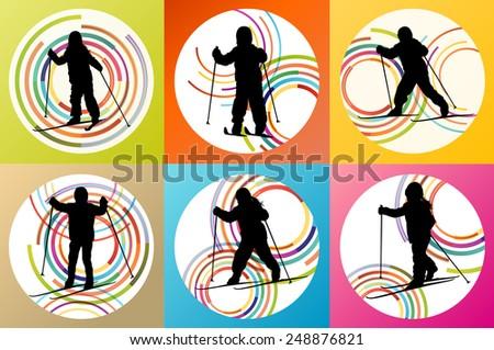 Active children, kid skiing set sport silhouette vector background concept - stock vector