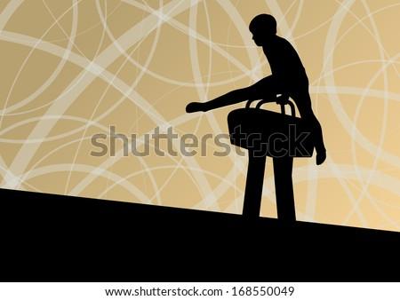 Active children sport silhouette on pommel horse vector abstract background illustration - stock vector