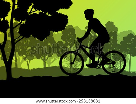 Active cyclists bicycle rider in wild forest nature landscape background illustration vector - stock vector