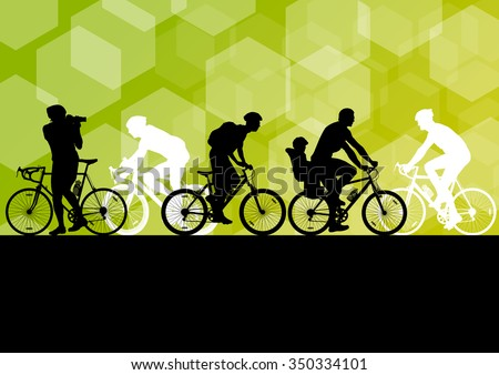 Active different profession men cyclists bicycle riders in abstract sport landscape background illustration vector - stock vector