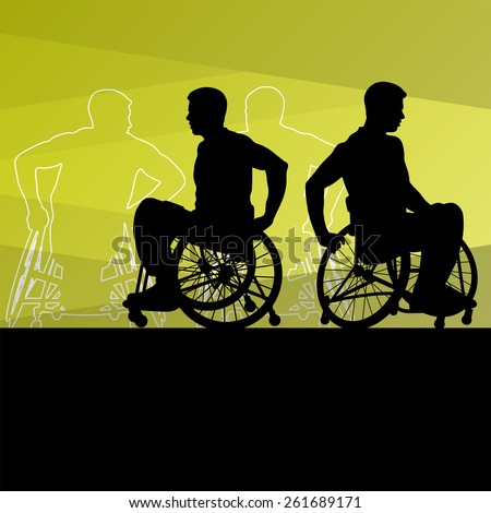 Active disabled men on a wheelchair detailed sport concept silhouette illustration background vector - stock vector