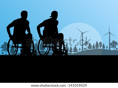 Active disabled men on a wheelchair detailed sport concept silhouette illustration in countryside forest nature background vector - stock vector