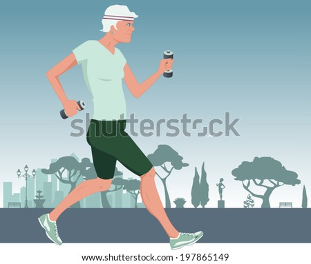 Active elderly woman working out in the city park - stock vector