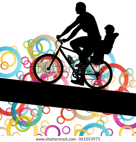 Active family cyclists bicycle riders in abstract sport landscape background illustration vector - stock vector