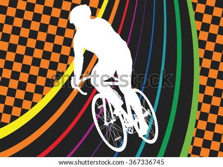 Active healthy man cyclist bicycle rider in abstract sport landscape background illustration vector - stock vector