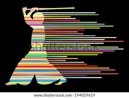 Active japanese Kendo sword martial arts fighter vector background concept made of stripes - stock vector