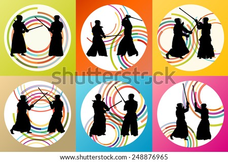 Active japanese Kendo sword martial arts fighters sport silhouettes set vector - stock vector