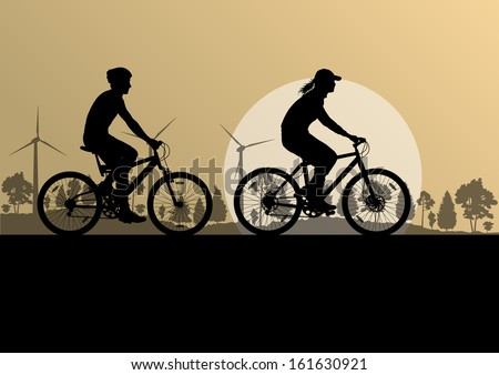 Active man and woman family cyclists bicycle riders in countryside nature landscape background illustration vector
