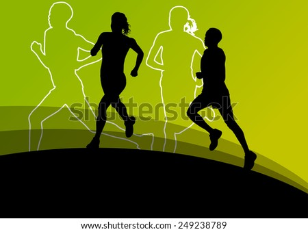 Active men and women runner sport athletics running silhouettes illustration background vector - stock vector