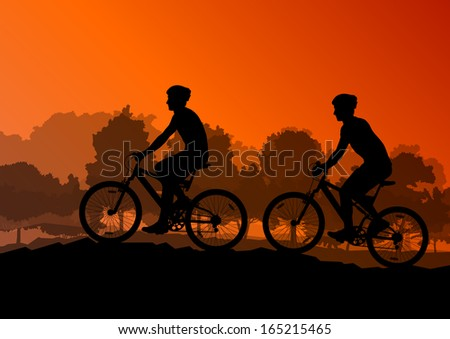 Active men cyclists bicycle riders in wild forest nature landscape background illustration vector