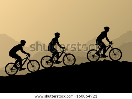 Active men cyclists bicycle riders in wild mountain nature landscape