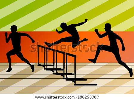 Active men sport athletics hurdles barrier running silhouettes illustration collection background vector - stock vector