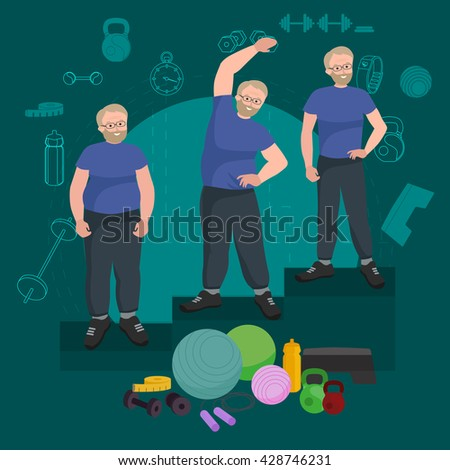 Active old man success weight loss isolated, slim senior workout, diet and sport wellness concept vector, people weight loss sport in gym doing exercise, active lifestyle. before and after weight loss - stock vector