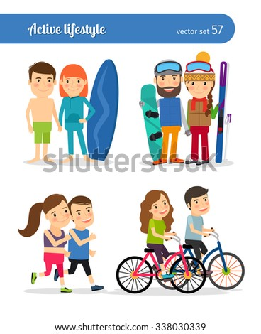 Active people. Sport activities and active lifestyle vector characters