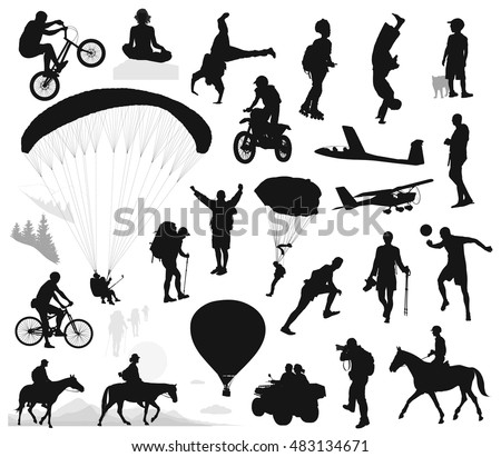 Active people vector silhouettes set. EPS 10