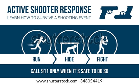 Active Shooter Response Safety Procedure Banner With Stick