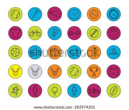 Active sport games color linear icons set. Vector line art symbols in circles isolated on white  - stock vector