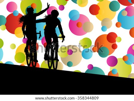 Active women cyclists bicycle riders in abstract sport landscape background illustration vector - stock vector
