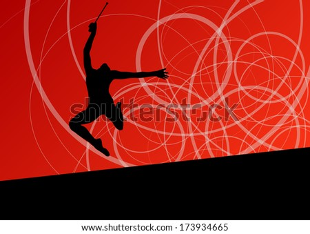 Active young girl calisthenics sport gymnast silhouette with clubs  in acrobatics abstract background illustration vector