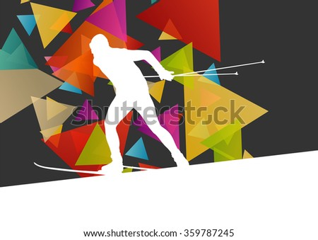 Active young man skiing sport silhouette in winter ice abstract background illustration vector