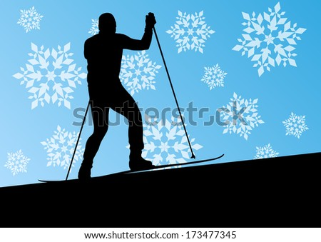 Active young man skiing sport silhouette in winter ice and snowflake abstract background illustration vector