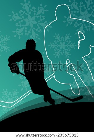 Active young men hockey players sport silhouettes in winter ice and snowflake abstract background illustration vector - stock vector