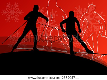 Active young men skiing sport silhouettes in winter ice and snowflake abstract background illustration vector - stock vector