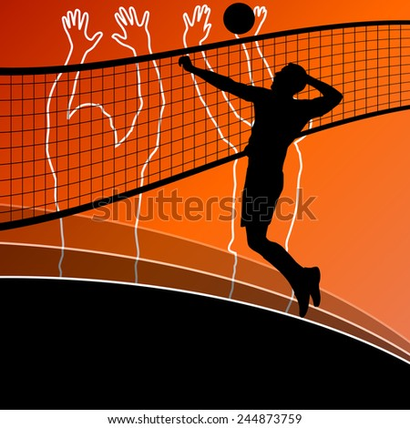 Active young men volleyball player sport silhouettes in abstract background illustration vector - stock vector